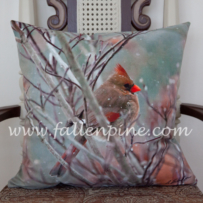 Female Cardinal Pillow Front