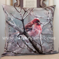 Purple Finch Pillow Front