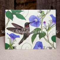 Hummingbird in Morning Glory Notecard